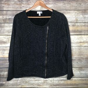 14th & union plus Moto sweatshirt jacket black 3x